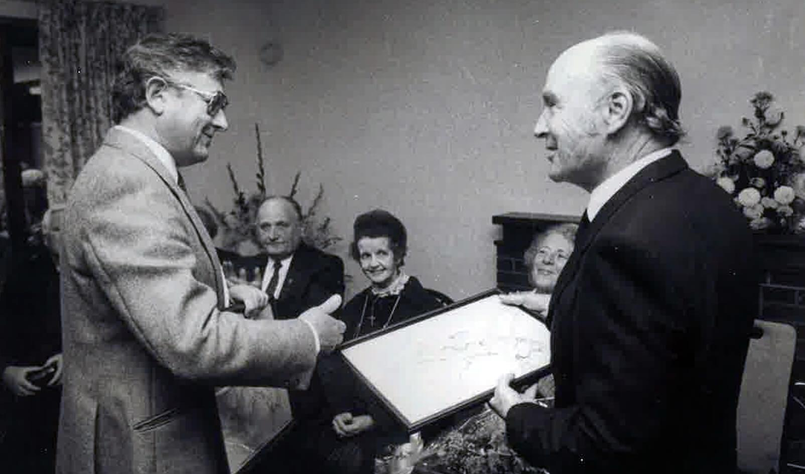 CJ-Ron-Falconer-Presentation-to-President-Patrick-Hillery-Sept.-88-at-the-Opening-of-Sue-Ryder-Head-Quarters-Ballyroan.jpg#asset:2368